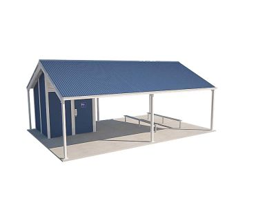 Olympus 1 Shelter Toilet Building with Deep Ocean and Surf Mist colour scheme