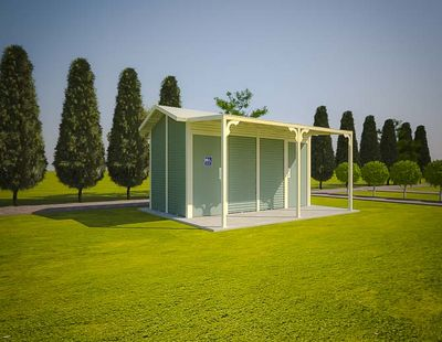 Burton 2 Standard Toilet Building with Pale Eucalypt and Classic Cream colour scheme