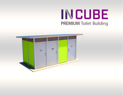 Incube modern toilet building us available in a range of material colour finished.