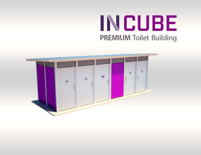 Purpose built INCUBE restroom buildings for modern towns and city streets.