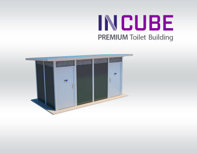 Incube Premium Toilet Buildings have the option to use a vibrant colour scheme for the aluminium aall panels.