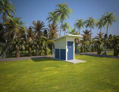Yarra 1 Compact Standard Toilet Building with Deep Ocean and Surfmist colour scheme