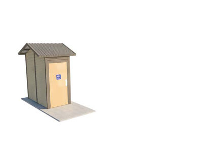 Burton 1 Compact Standard Toilet Building with Paperbark and Gully colour scheme